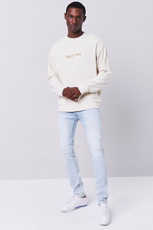 CREAM/YELLOW Take It Easy Embroidered Graphic Pullover, image 4