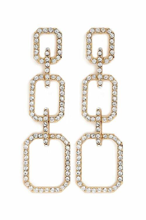 Rhinestone Link Drop Earrings, image 1