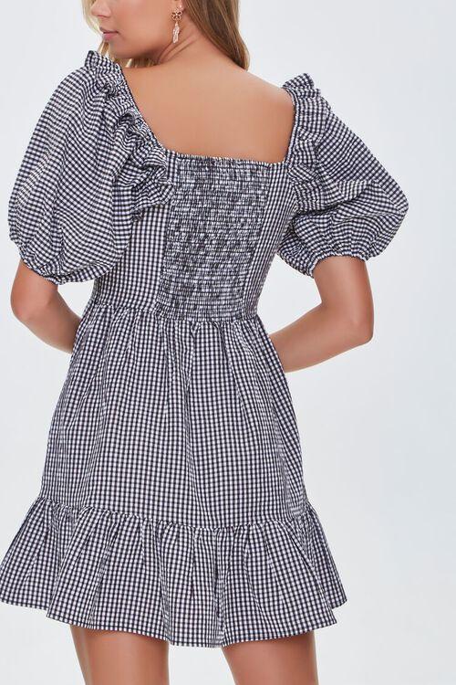 Gingham Balloon-Sleeve Dress, image 3