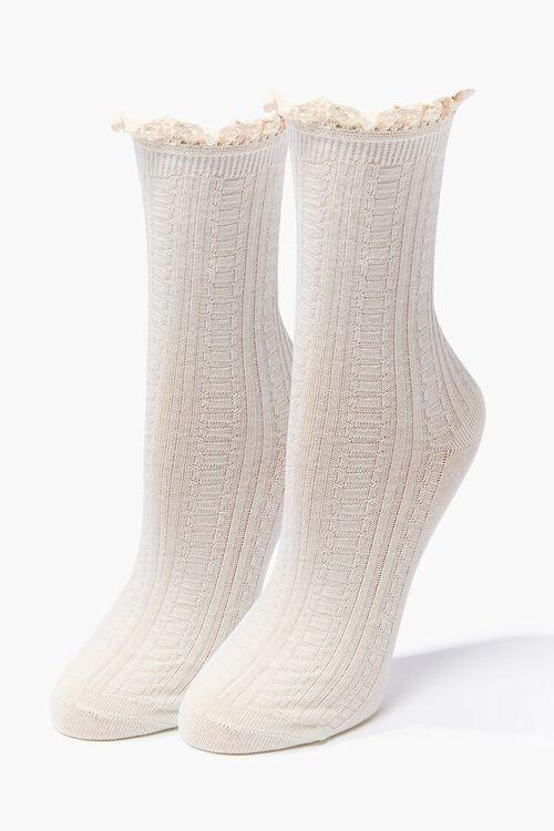 Lace-Trim Crew Socks, image 1