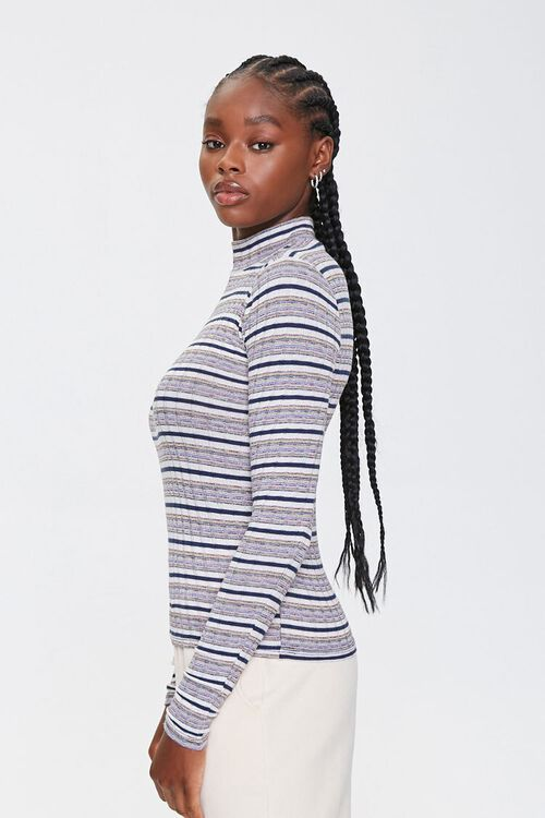 Striped Mock Neck Top, image 2