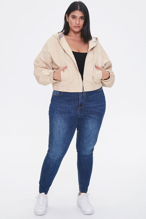 Plus Size Plaid-Lined Zip-Up Hoodie, image 4