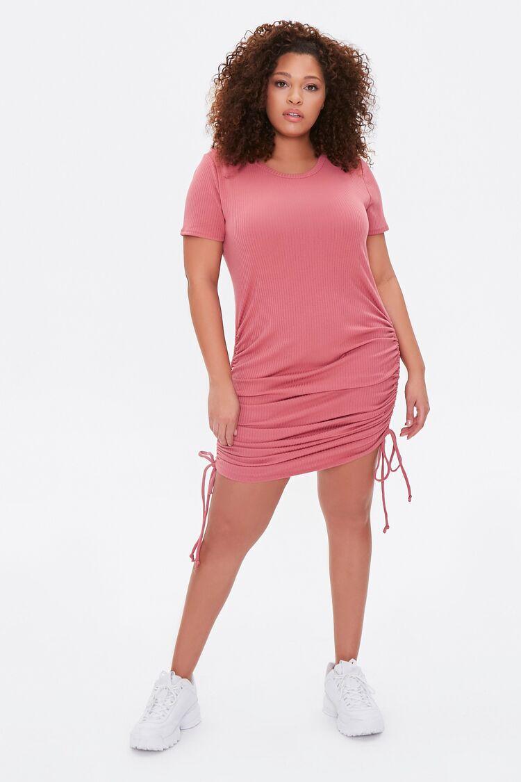 Plus Size Ruched Drawstring T-Shirt Dress