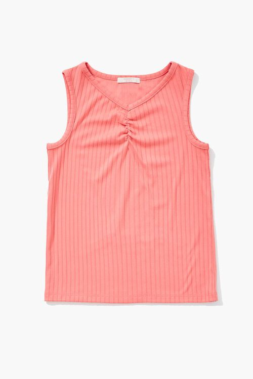 Girls Ribbed Ruched Tank Top (Kids), image 1
