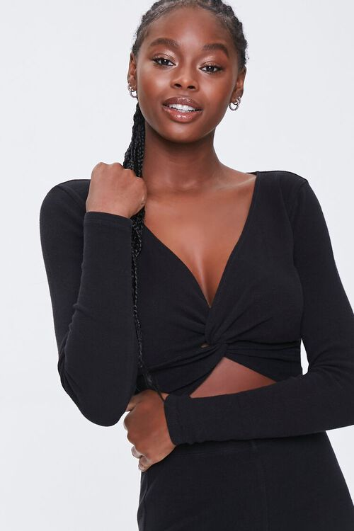 Ribbed Twist-Front Top, image 1