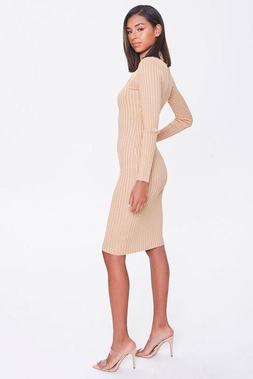 Ribbed Mock Neck Sweater Dress, image 2