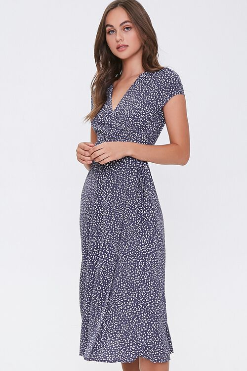 NAVY/CREAM Spotted Fit & Flare Wrap Dress, image 1