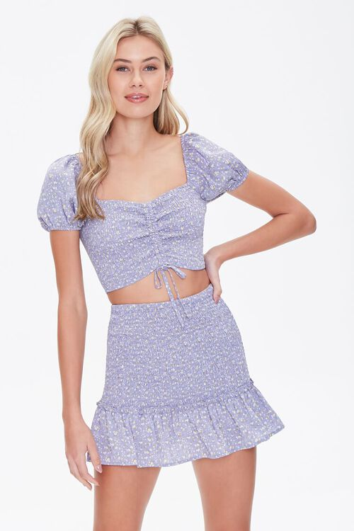 Floral Smocked Mini Skirt, image 1