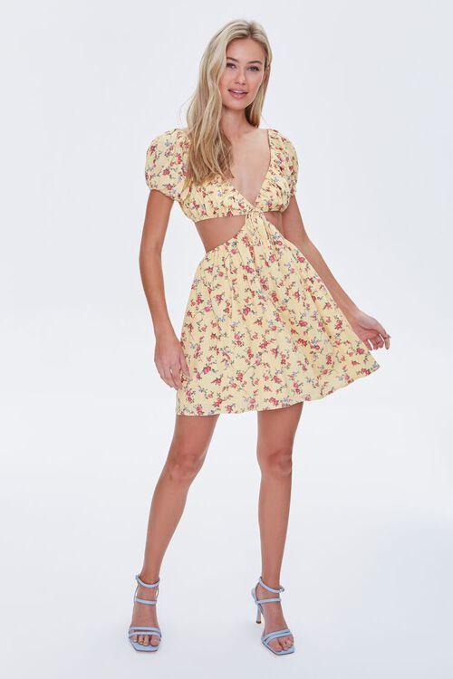 YELLOW/MULTI Floral Cutout Mini Dress, image 4