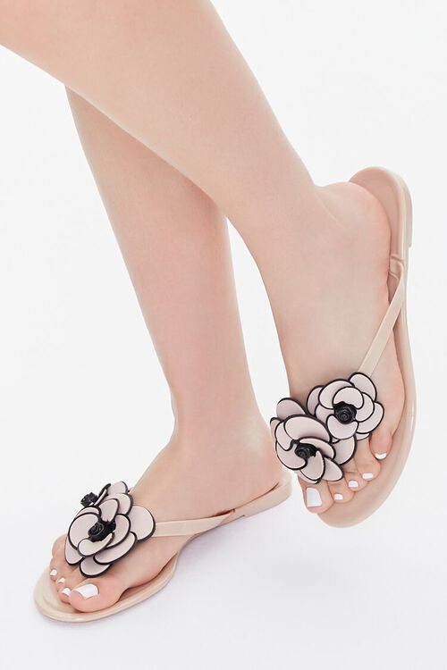 Floral Applique Thong Sandals, image 1