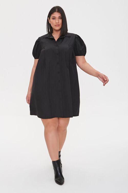 BLACK Plus Size Puff Sleeve Shirt Dress, image 1