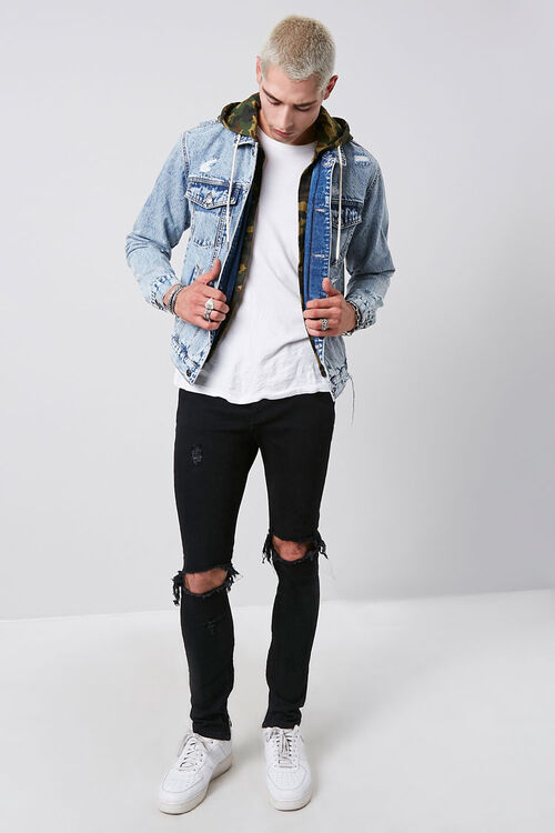 Camo Hooded Sunbleached Denim Jacket, image 4