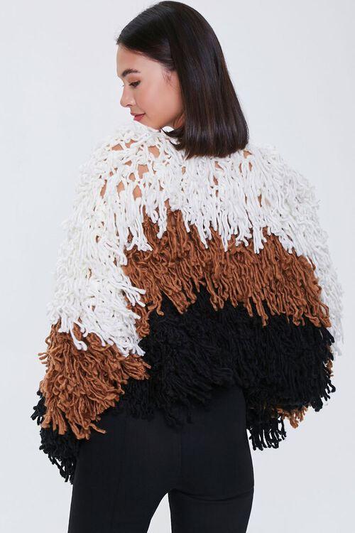 Colorblock Fringe Cardigan Sweater, image 3