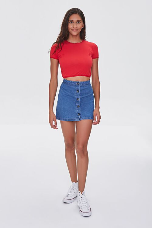 Cropped Heathered Knit Tee, image 4