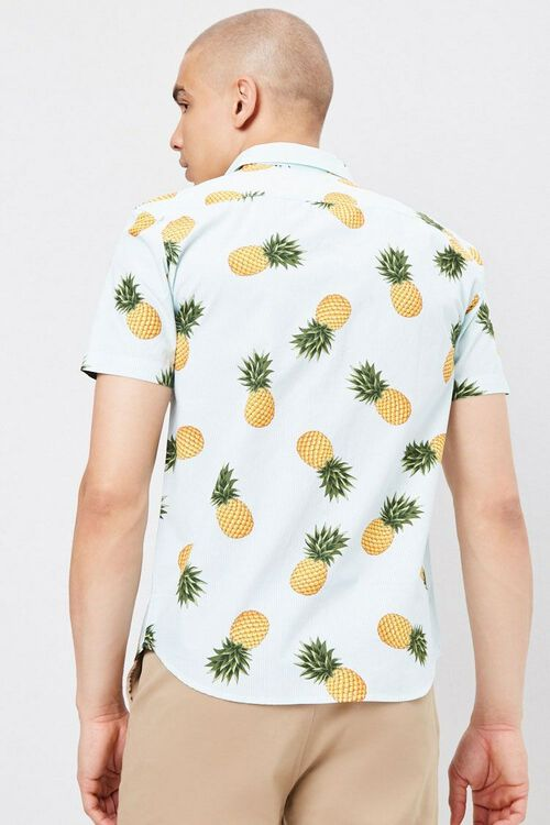 Fitted Pinstriped Tropical Print Shirt, image 3