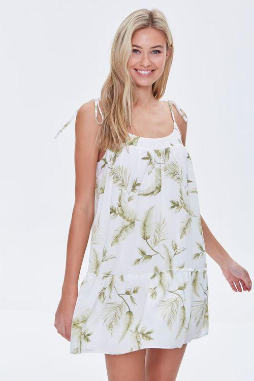 CREAM/GREEN Leaf Print Mini Dress, image 1