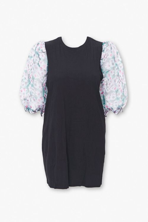 Plus Size Floral Puff Sleeve Dress, image 1