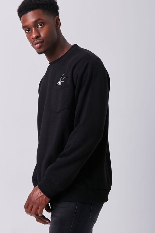 BLACK/WHITE Embroidered Spider Graphic Pullover, image 2
