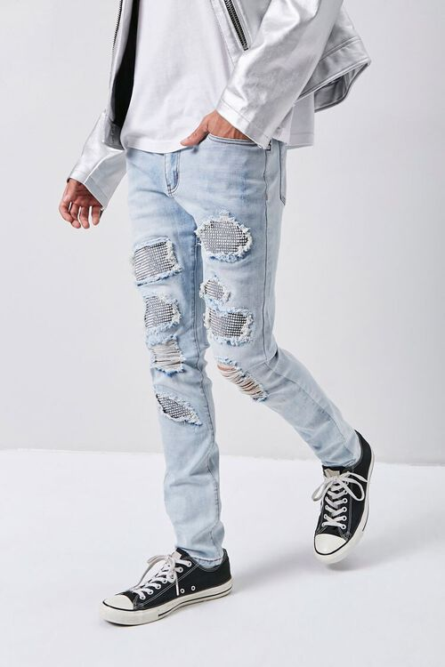 Rhinestone Distressed Skinny Jeans, image 1