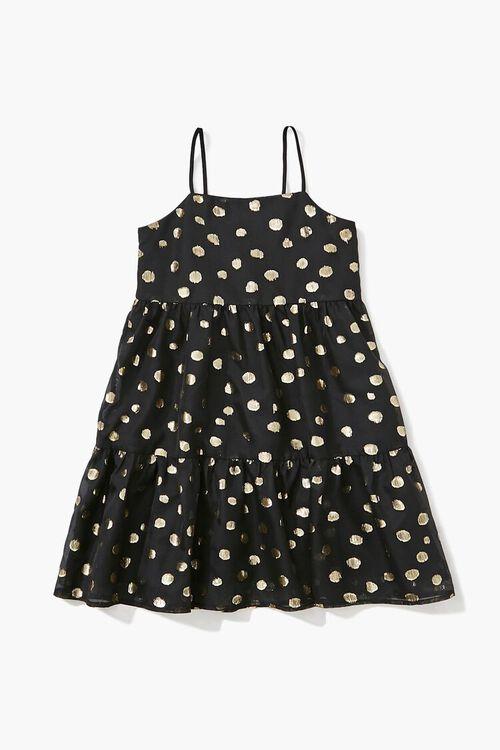 BLACK/GOLD Girls Metallic Polka Dot Dress (Kids), image 1