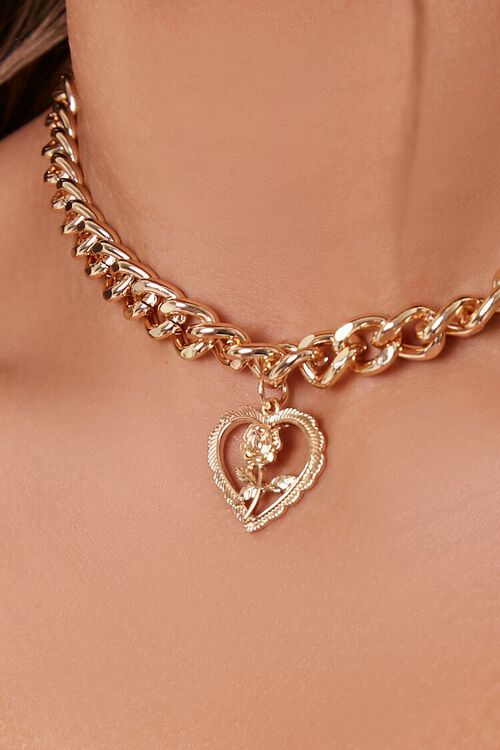 GOLD Rose Heart Pendant Necklace, image 2