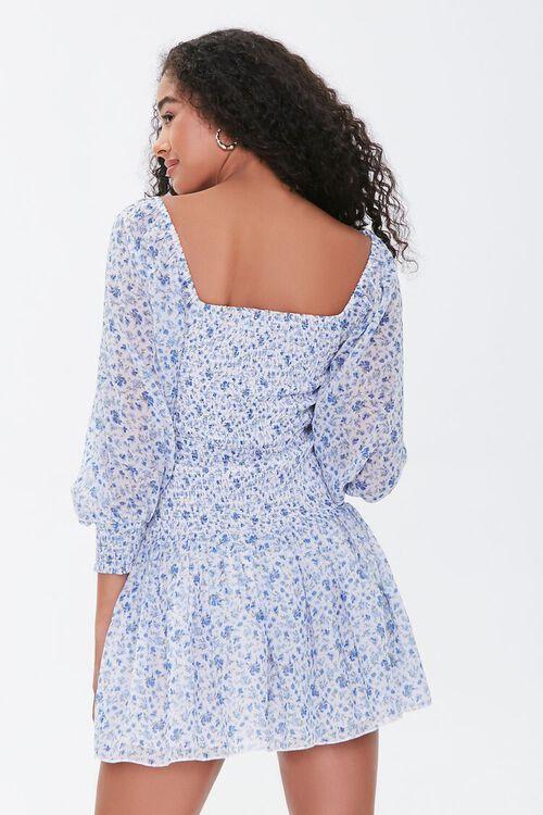 Smocked Georgette Floral Mini Dress, image 3