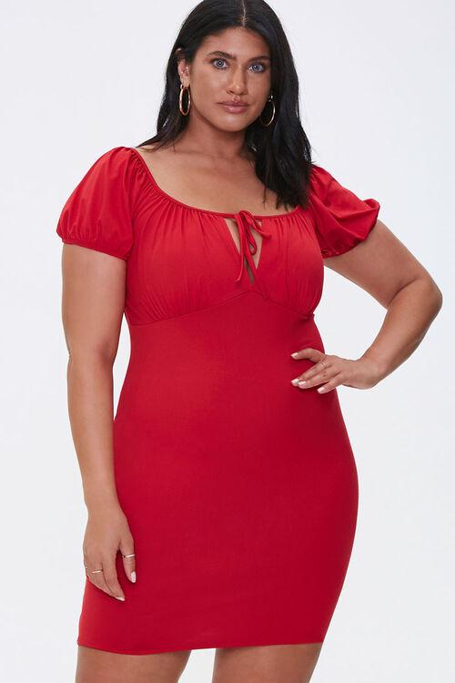 Plus Size Puff-Sleeve Mini Dress, image 1