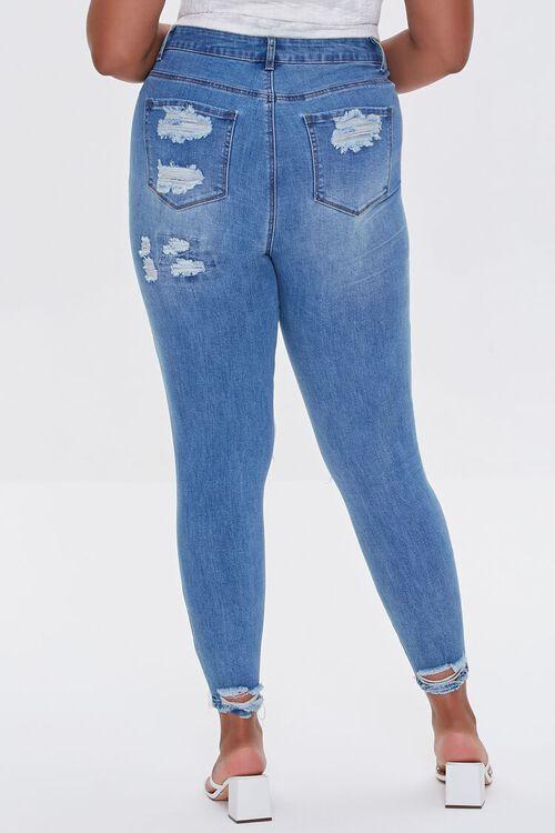 BLUE Plus Size Premium Distressed Boyfriend Jeans, image 4
