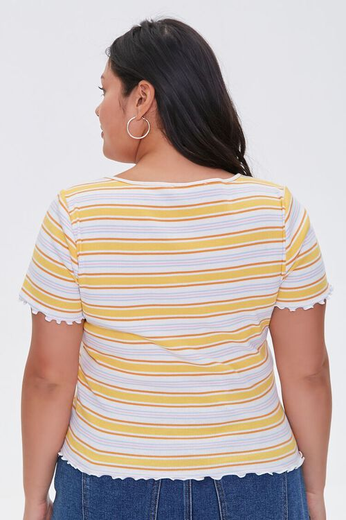 Plus Size Buttoned Striped Top, image 3