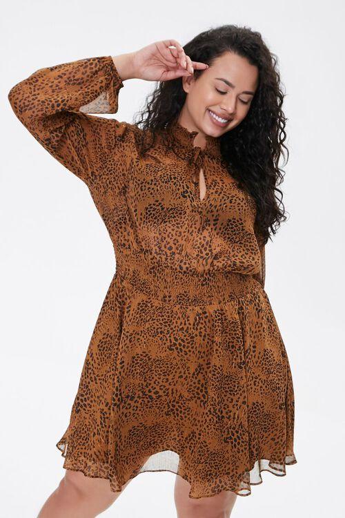 BROWN/BLACK Plus Size Leopard Print Chiffon Dress, image 5