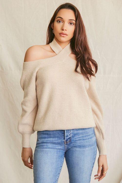 BEIGE Open-Shoulder Halter Sweater, image 1