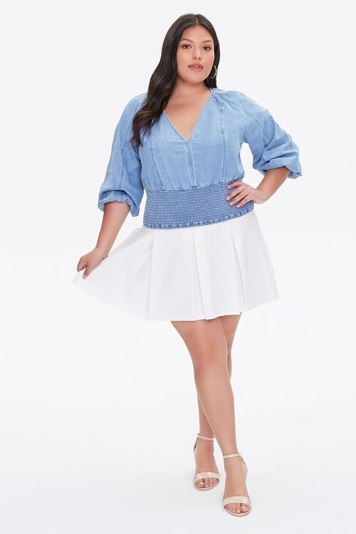 Plus Size Smocked Chambray Top, image 4