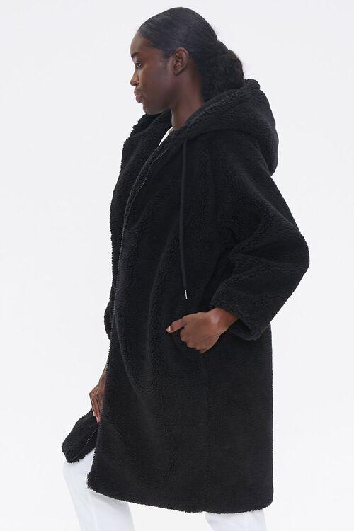 Faux Shearling Longline Hooded Coat, image 2