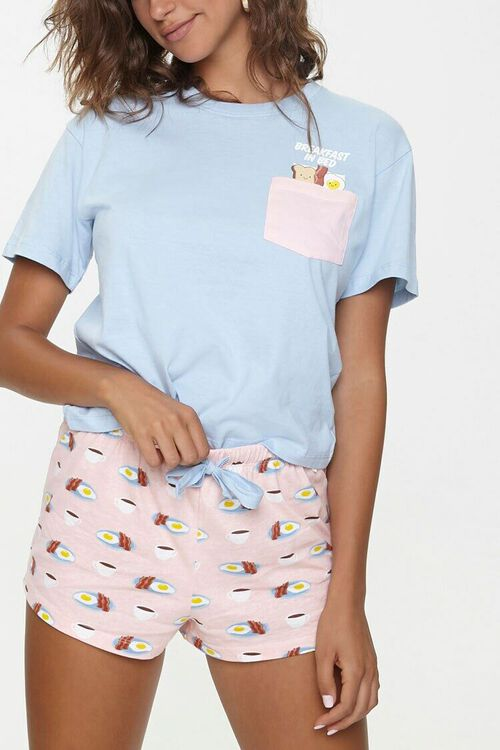 Breakfast Print Tee & Shorts Pajama Set, image 1