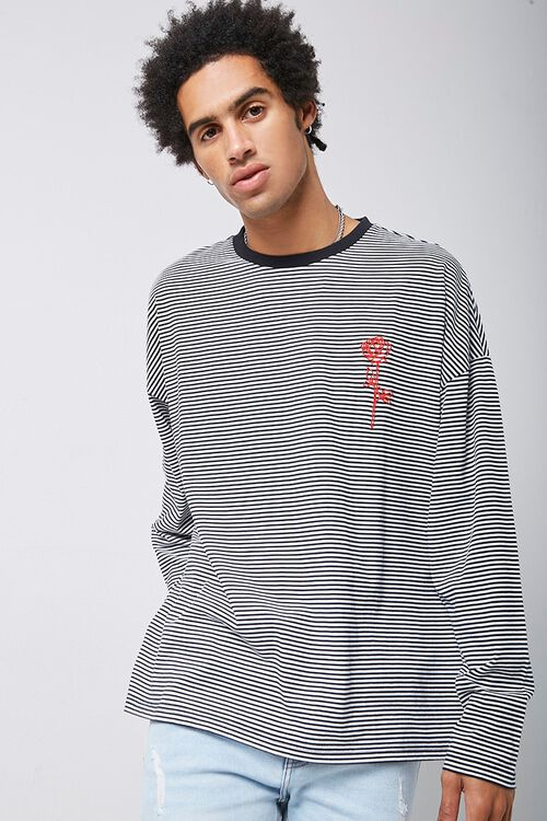 Rose Embroidered Graphic Striped Tee, image 1