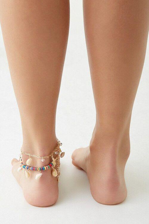 CREAM/MULTI Seashell Charm Anklet Set, image 3