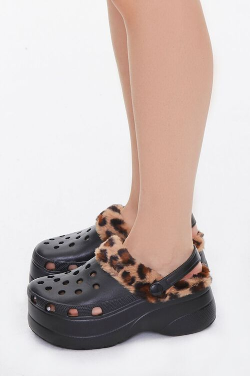 Leopard-Trim Perforated Wedges, image 2