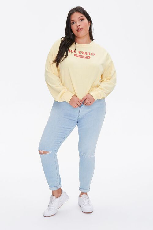 Plus Size Los Angeles Cropped Graphic Tee, image 4