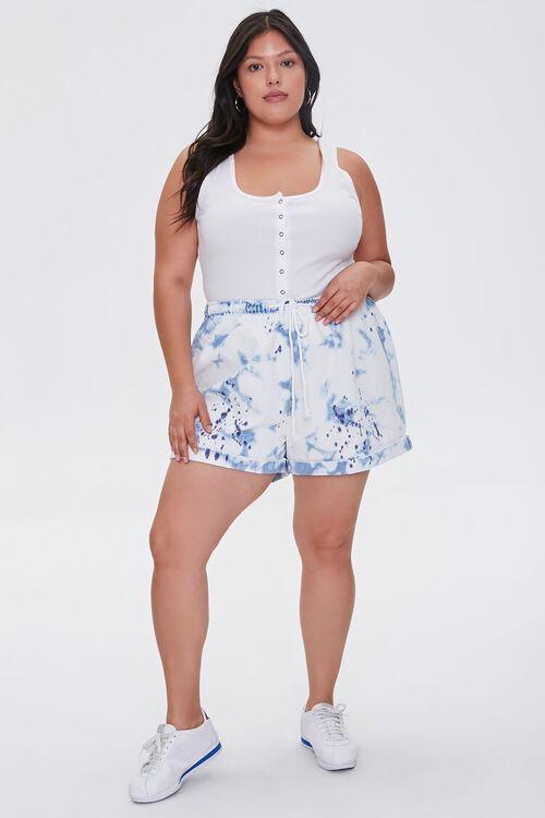 Plus Size Bleached Denim Shorts, image 5