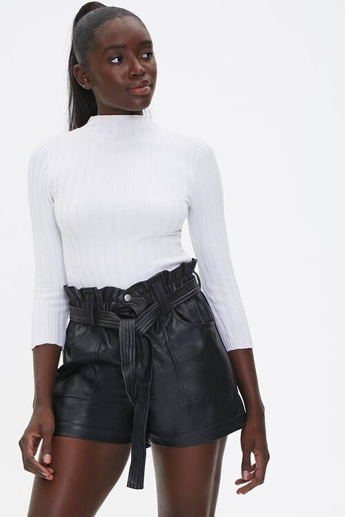 Faux Leather Paperbag Shorts, image 1