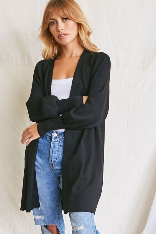 BLACK Seamed Cardigan Sweater, image 1