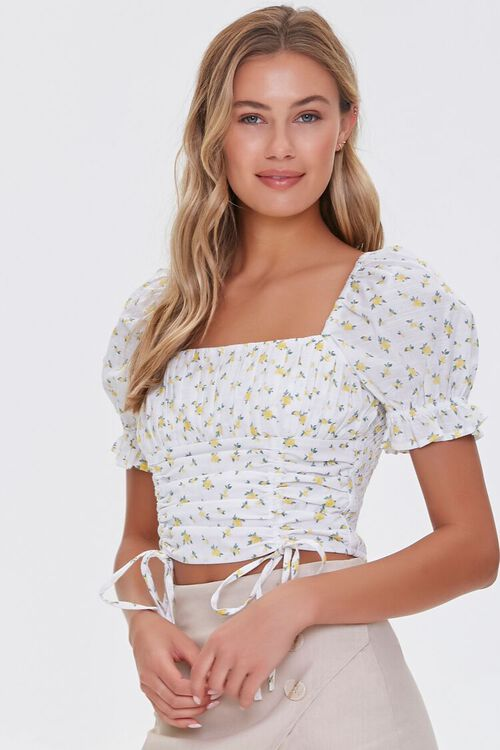 Floral Print Puff-Sleeve Top, image 1