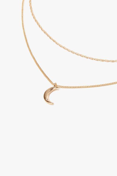 GOLD Moon Pendant Layered Choker, image 1