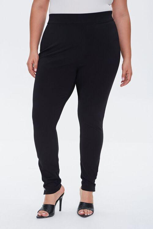 BLACK Plus Size Button Leggings, image 2