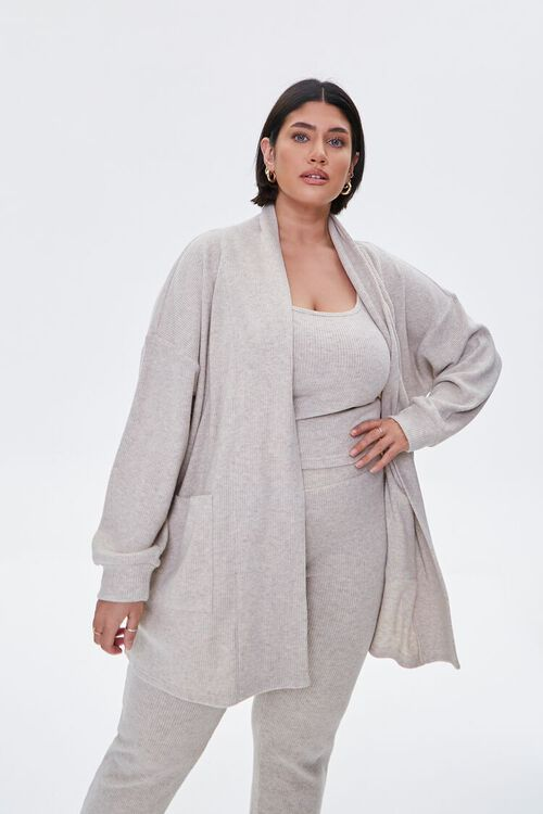 Plus Size Patch-Pocket Cardigan Sweater, image 1