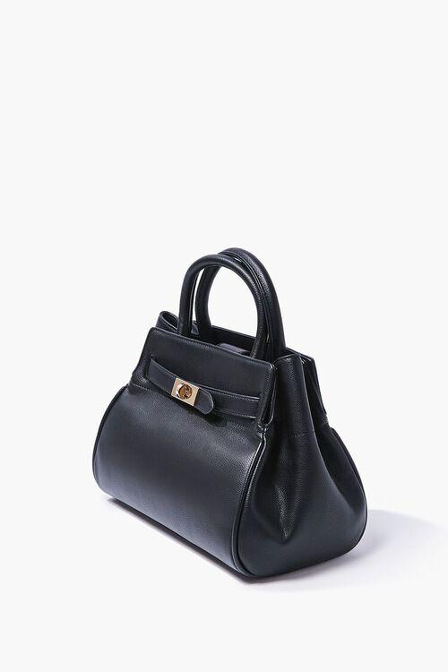 BLACK Faux Leather Pouch Satchel, image 2