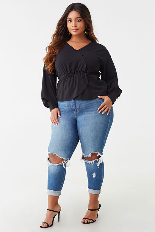 Plus Size Button-Loop Top, image 4
