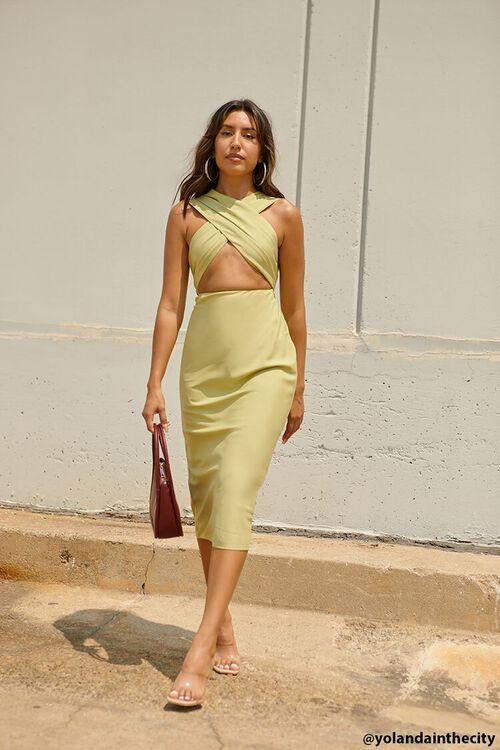 LIGHT OLIVE Crossover Halter Dress, image 1
