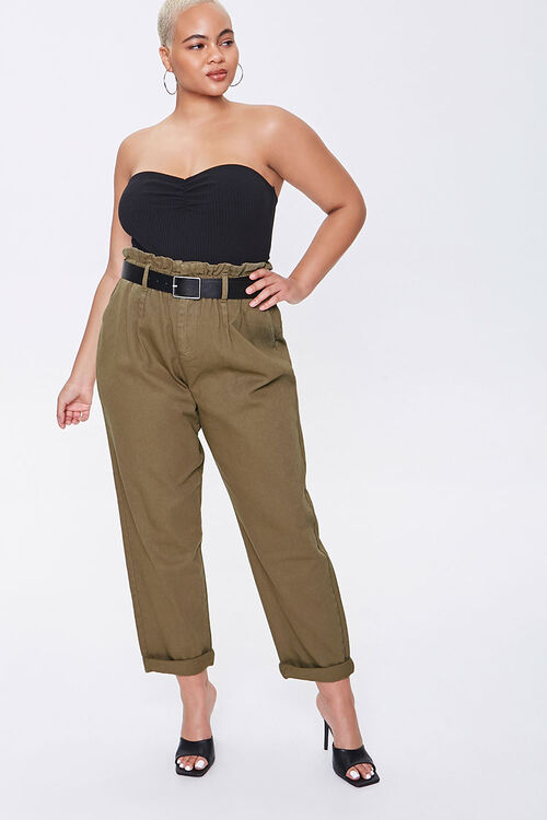 Plus Size Paperbag Ankle Pants, image 1