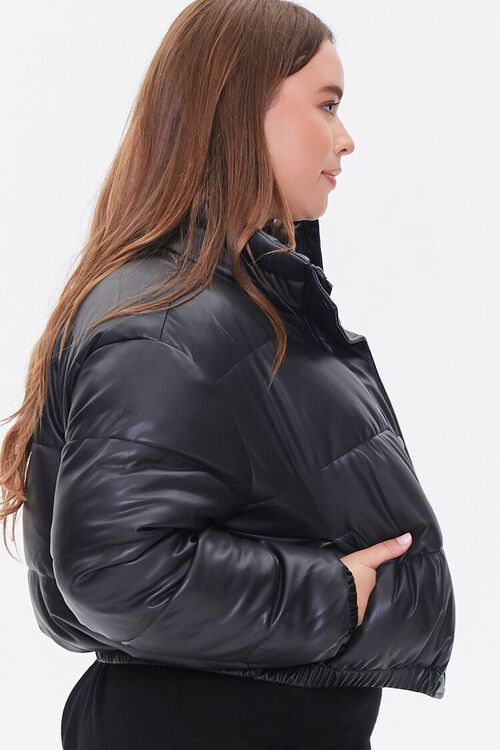BLACK Plus Size Faux Leather Puffer Jacket, image 2